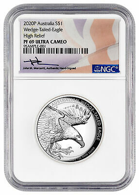 2020 P Australia 1 oz HR Silver Wedge-Tailed Eagle NGC PF69 UC Mercanti SKU60454