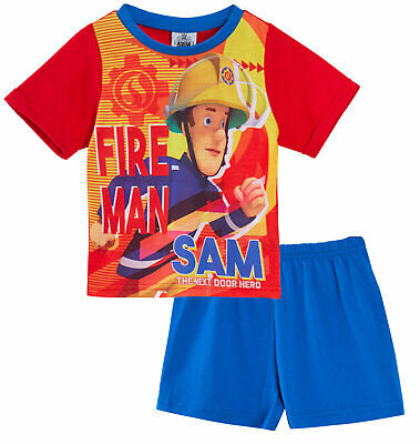 Boys Fireman Sam Short Pyjamas Kids Toddler Shortie PJs Set Character Nightwear