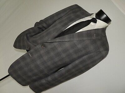 Brooks Brothers Regent Men's Gray windowpane 100% wool jacket coat 42 R