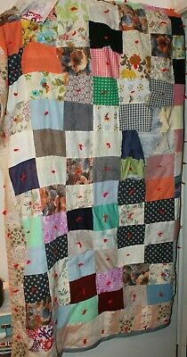 """Vintage Large 66"""" x 80"""" Handmade Patchwork Quilt. Complete with Backing."""