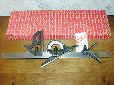 Starrett Combination Square-Protractor-Center Head Set - 4R Graduations