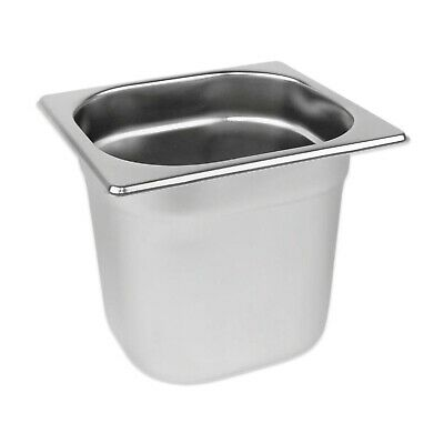 STAINLESS STEEL CONTAINER POT GASTRONORM 1/6 TRAY 150mm DEEP BAIN MARIE FOOD PAN