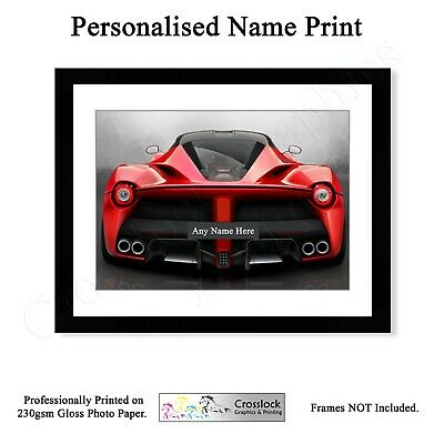 PERSONALISED License Plate Sports Car Photo Poster Print Wall Art A4 GIFT