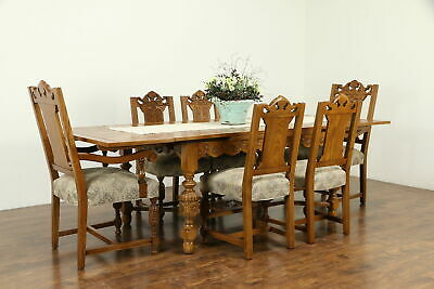 English Tudor Antique Oak Dining Set, Table, 6 Chairs #32782