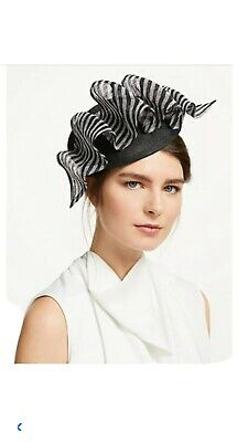 PETER BETTLEY Black And Ivory WEDDING  DISC FASCINATOR Mother Of The Bride Hat