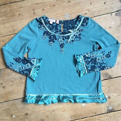 Monsoon Girls Teal Long Sleeved Top Sequins Age 4-5 Years