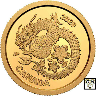 2020 Gold 'Lucky Flower Dragon' $8 Proof 1/25oz Gold Coin .9999 Fine (18885) NT