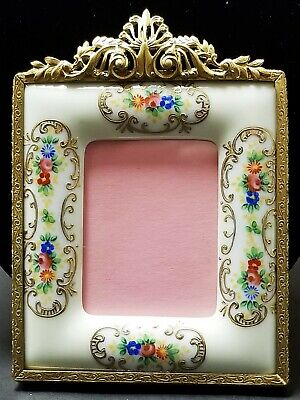 Vintage / Antique Hand Painted Porcelain & Ormolu Wall Hanging Picture Frame