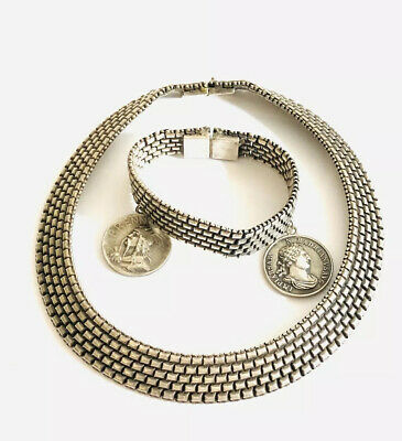 Antique French Silver Plated Collar And Bracelet , French Medals , 100 Grams