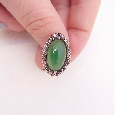 Solid silver green chalcedony & marcasite art deco period ring, 925