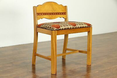 Art Deco Vintage Small Bench, New Upholstery #32787