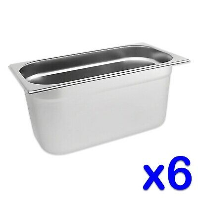 STAINLESS STEEL FOOD PANS POTS 6 x GASTRONORM 1/3 TRAYS 150mm DEPTH BAIN MARIE