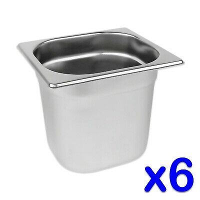 STAINLESS STEEL FOOD PANS 6 x GASTRONORM 1/6 CONTAINERS 150mm DEEP BAIN MARIE
