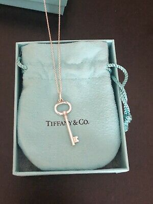 "Tiffany & Co Sterling Silver Small Oval Key Pendant Necklace 18"" Box Pouch"