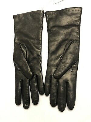 "Portolano Dark Brown Leather 100% Cashmere Lined 11"" Women's Gloves Size: 7 NEW"