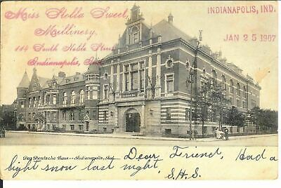 Antique Postcard Das Deutsche House Indianapolis IN 1907