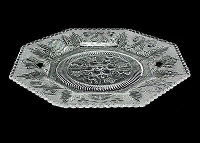 "Antique Octagonal 8"" Crystal Serving Platter With Intricate Designs – NO RESERVE"
