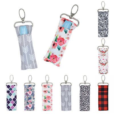 Lip Balm Bag Chapstick Lipstick Holder Printing Keychain Pouch Key Ring Women