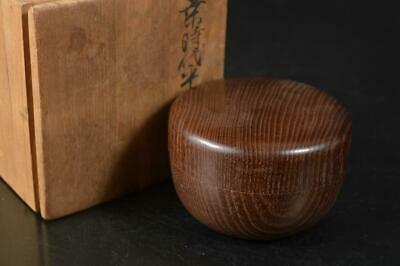 A7007: Japanese Wooden Mulberry tree TEA CADDY Natsume w/box Tea Ceremony