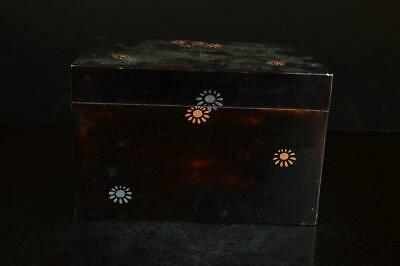 A7811: Japanese Wooden Flower gold lacquer pattern TEA CEREMONY BOX Chabako