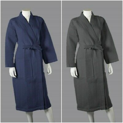 Luxury Womens Waffle Dressing Gown Bath Robe 100% Combed Cotton Shawl Robes