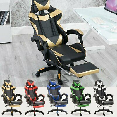 PU Leather Chair Racing Gaming Office High Back Ergonomic Recliner With Footrest