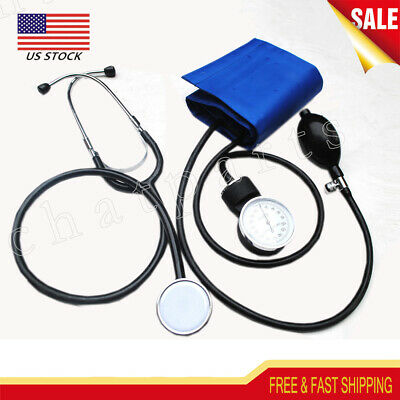 Adult Manual Blood Pressure Cuff and Stethoscope Kit Sphygmomanometer BP Monitor
