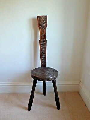 Hand Carved Spinners Chair - Stool, Ben Setter Totnes,