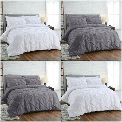 Luxury Duvet Cover Set Pintuck Quilt Bedding Sets 100% Egyptian Cotton All Sizes