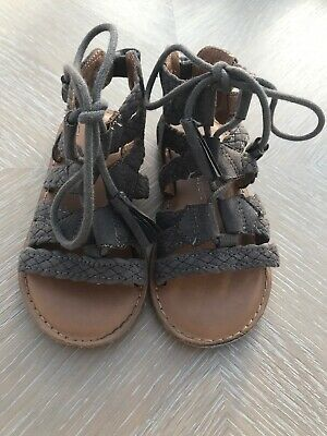 Next Girls Grey Suede Lace Up Sandals Size 8