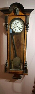 Antique Burr Walnut Double Twin Weighted Vienna Clock THOs RUSSELL & Co Restore