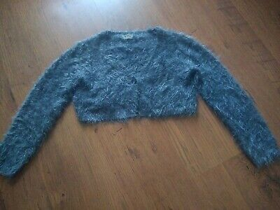 Girls grey fluffy sparkly shrug, cropped cardigan, from Next age 8 years
