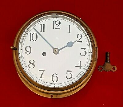 Vintage Fusee Platform Escapement 8 Day Brass Ship's Clock 7 Inch Dial