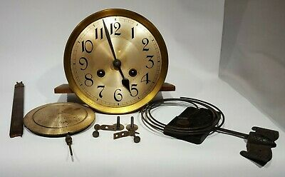 Antique German Striking Wall Clock Movement+Dial Pendulum Gong Complete