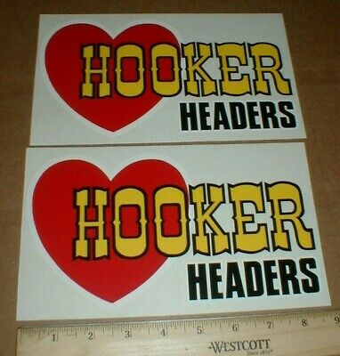 2 Hooker Headers Competition Hot Rod Speed Shop Drag racing decal sticker pair