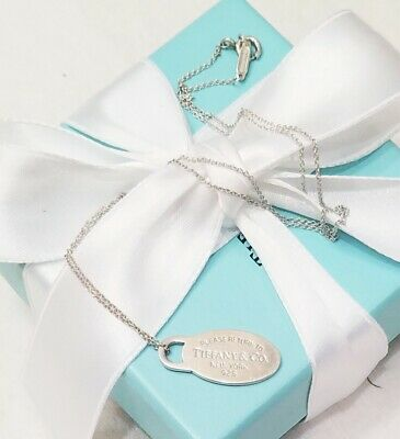 Please Return Tiffany & Co Silver Oval Round Tag Rolo Chain Link Charm Necklace
