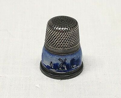 Antique Sterling Silver Thimble Scenic Windmill Blue Enamel c1910