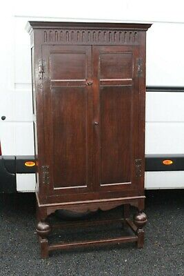 1910 Dark Oak 2 Door Hall Wardrobe on Stand
