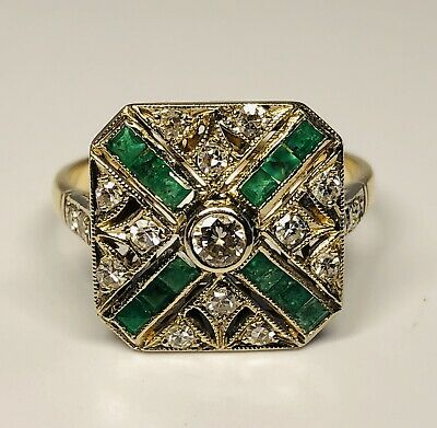 Antique 14K Yellow Gold With Diamonds and Emeralds Ring Size 7