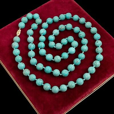 Antique Vintage Art Deco 14k Gold Chinese Spiderweb Turquoise 554.5 CT Necklace