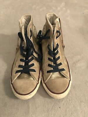 Converse Size 2 Gold Glittered High Tops In Good Condition