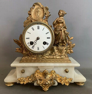 19thC Antique FRENCH VICTORIAN Alabaster JAPY FRERES Lady STATUE MANTEL CLOCK