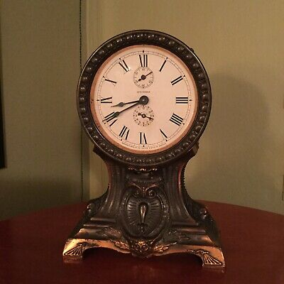 Antique Seth Thomas Clock-Copper-Brass-Balloon Style-Running Condition-Etching