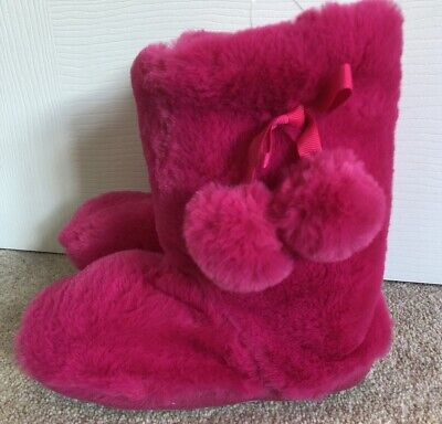 NEXT Girls Pink Slippers Furry Boots. Brand New! RRP £11