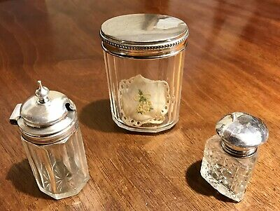 Antique Sterling Silver And Crystal Salt Cellar & Spoon, Bottle & Counter Cellar