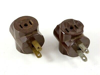 2 Vintage Outlet Plug Adapters SNAPIT (Bakelite) + Unbranded Brown Non-Polarized