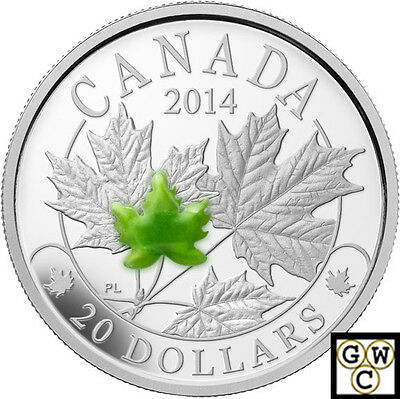 2014 Majestic Maple Leaves with Jade Prf $20 Silver coin1oz .9999Fine(14076)OOAK