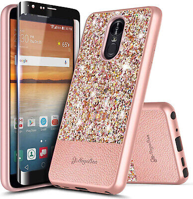 For LG Stylo 5/5V/5x/5 Plus Case Glitter Bling Phone Cover + Tempered Glass