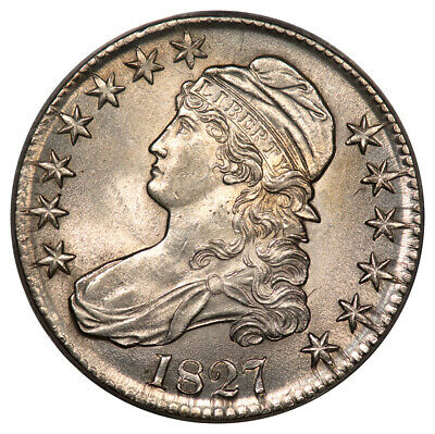 1827 50C Curl Base 2 Capped Bust Half Dollar PCGS MS63