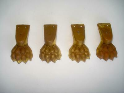 Set 4 Antique Gilt Brass Ormolu Lion Paw Feet Furniture Mounts